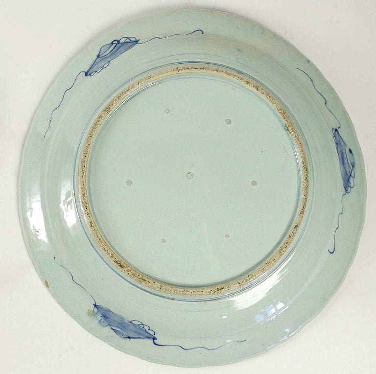 19th Century Japan, a Large Pair of Porcelain Dishes with Blue Koï Carps For Sale 4