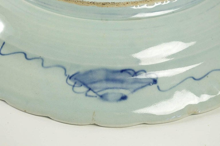 19th Century Japan, a Large Pair of Porcelain Dishes with Blue Koï Carps For Sale 5