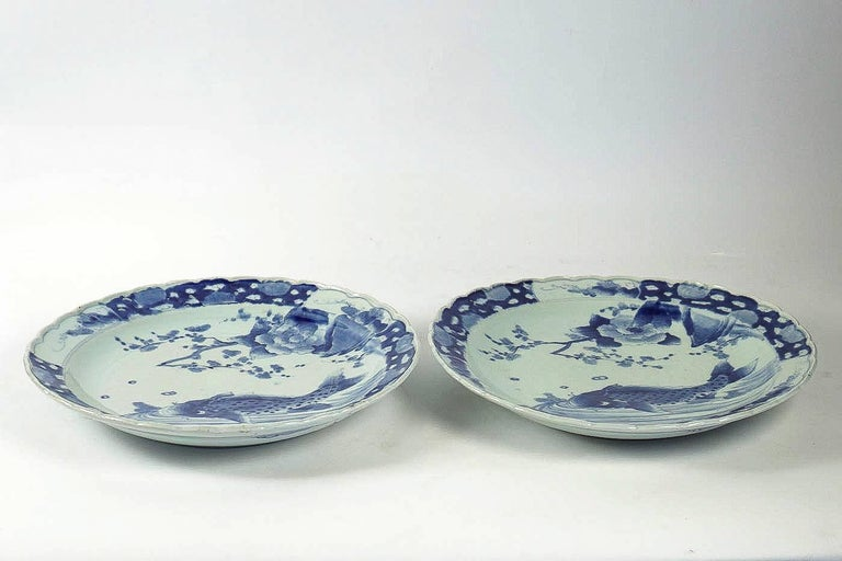 19th Century Japan, a Large Pair of Porcelain Dishes with Blue Koï Carps For Sale 7