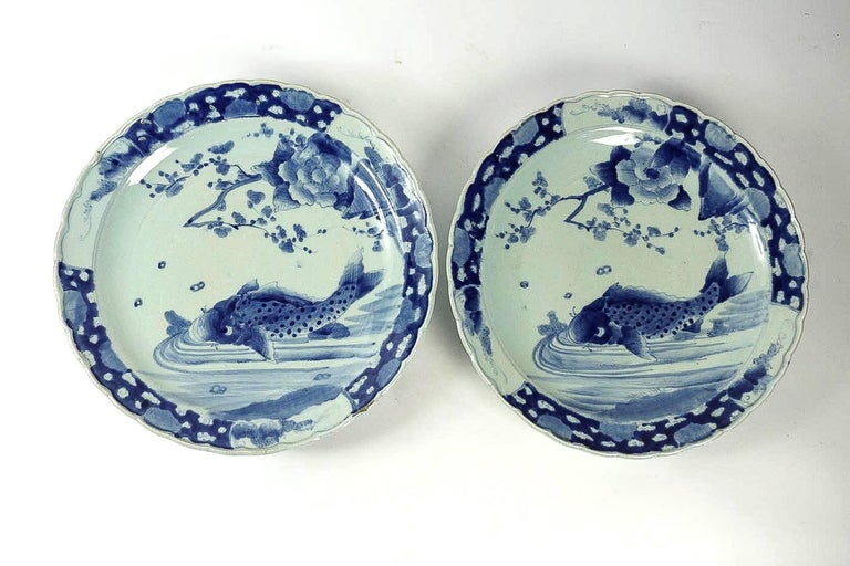 Meiji 19th Century Japan, a Large Pair of Porcelain Dishes with Blue Koï Carps For Sale