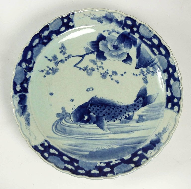 Japanese 19th Century Japan, a Large Pair of Porcelain Dishes with Blue Koï Carps For Sale