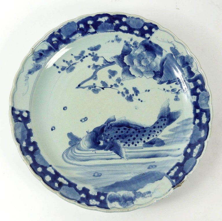 19th Century Japan, a Large Pair of Porcelain Dishes with Blue Koï Carps For Sale 1
