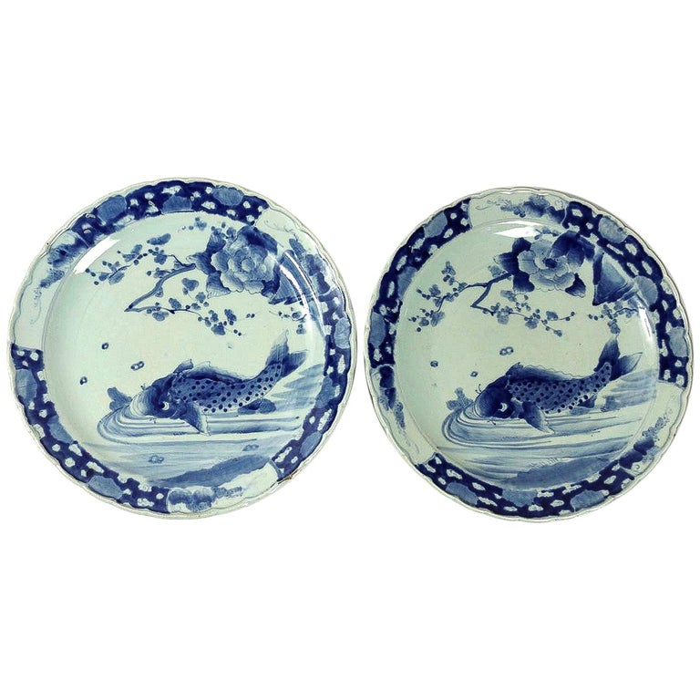 19th Century Japan, a Large Pair of Porcelain Dishes with Blue Koï Carps For Sale