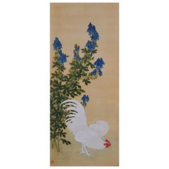 19th Century Japanese Bird and Flower Painting, Rooster, Hen and Wolf's Bane