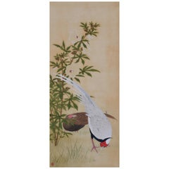 19th Century Japanese Bird and Flower Painting, Silver Pheasants and Hibiscus