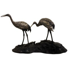 19th Century Japanese Bronze Cranes