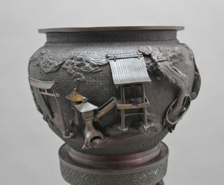 19th Century Japanese Bronze Jardinere on Stand 1