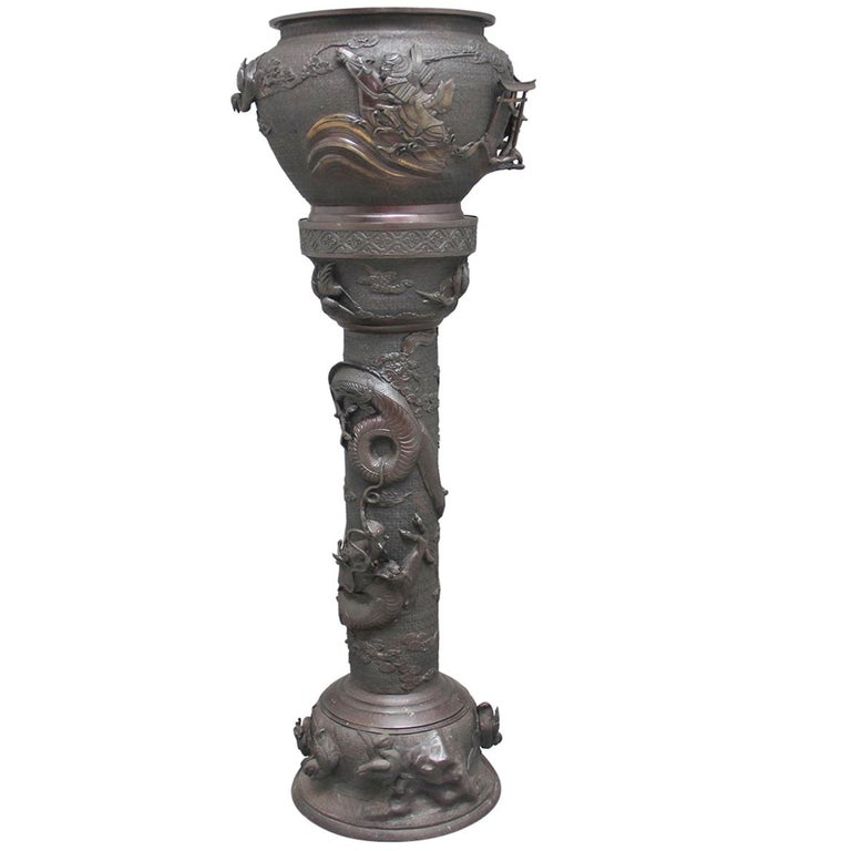 19th Century Japanese Bronze Jardinere on Stand