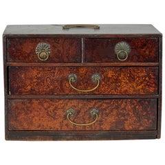 19th Century Japanese Burl Elmwood Jewelry Box