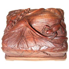 19th Century Japanese Carved Frog and Waterlily Wooden Box