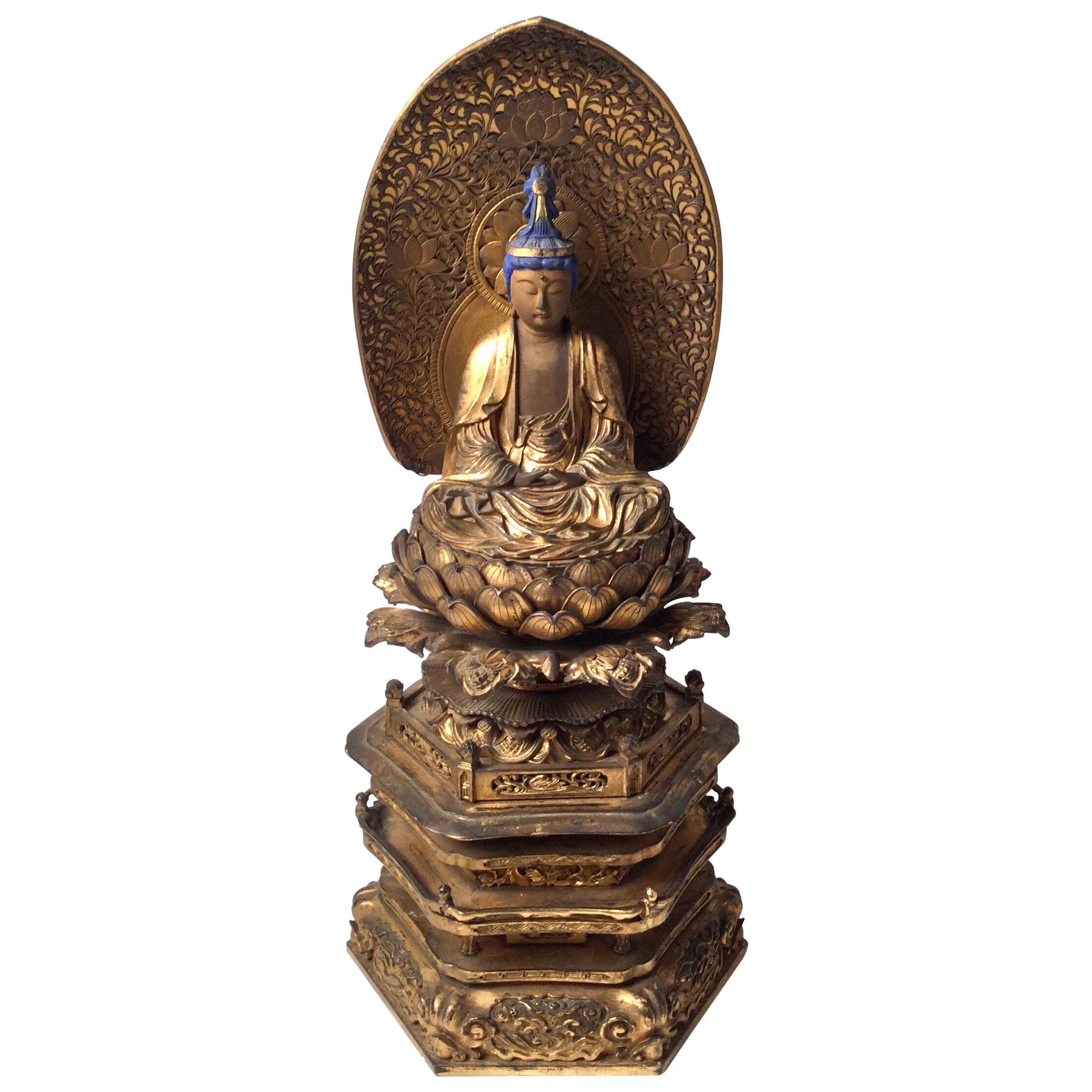 19th Century Japanese Carved Wood Polychromed Shrine Buddha