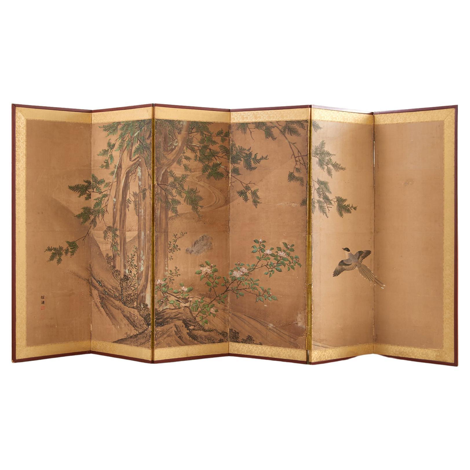 19th Century Japanese Edo Six Panel Kano School Landscape Screen