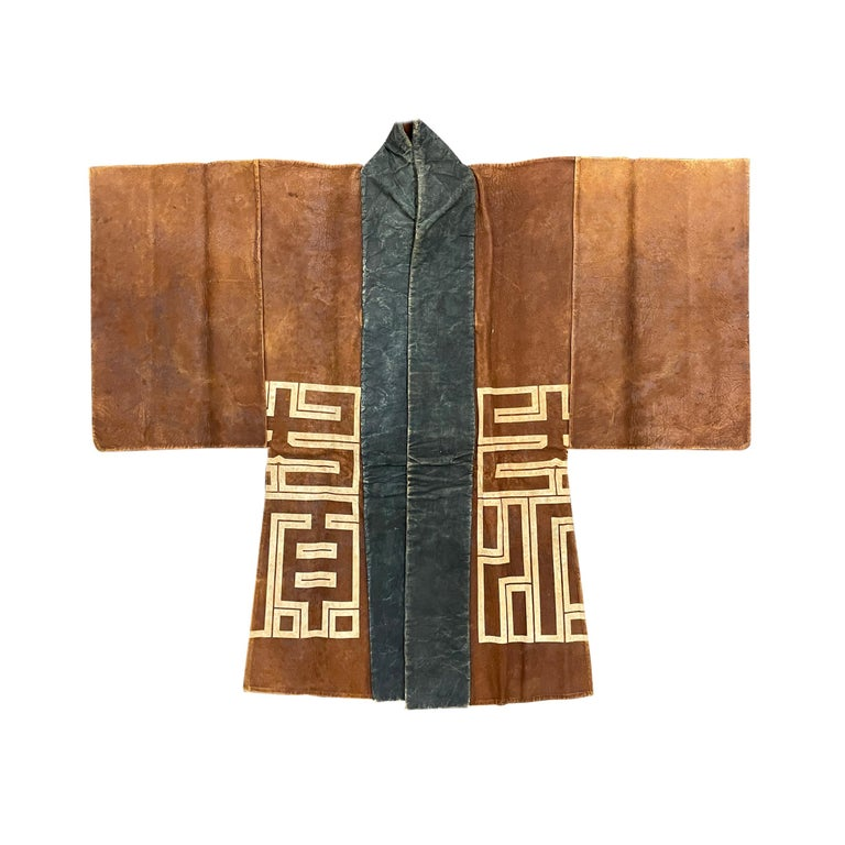 19th Century Japanese Firemen's Coat on Custom Mount In Good Condition For Sale In Chicago, IL