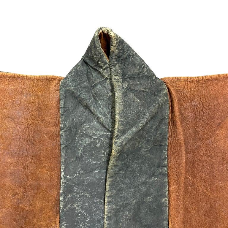 Leather 19th Century Japanese Firemen's Coat on Custom Mount For Sale