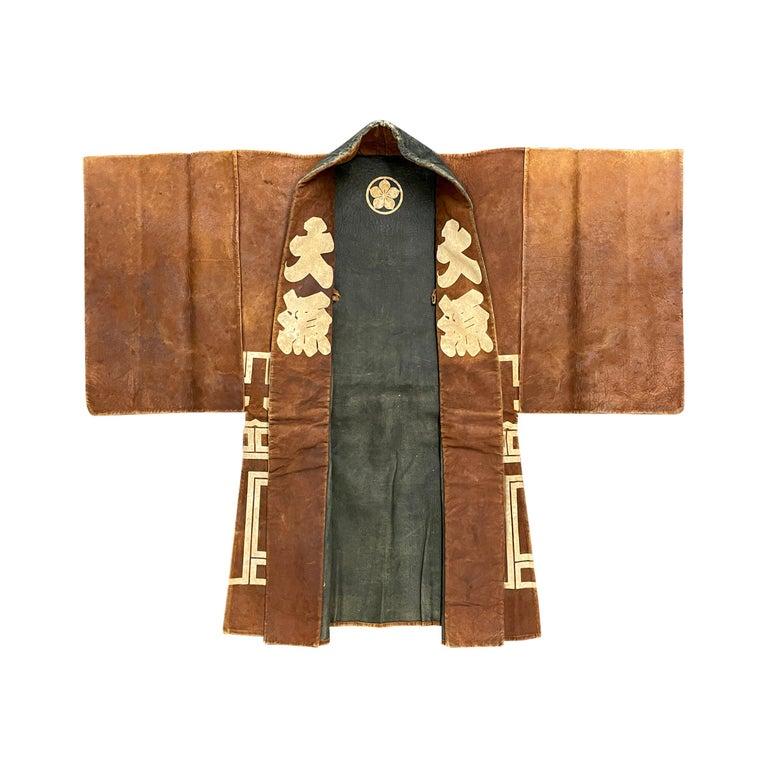 19th Century Japanese Firemen's Coat on Custom Mount For Sale