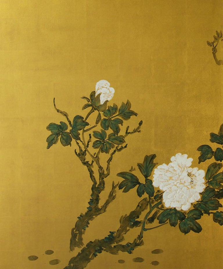 Showa XX°th Century Japanese Folding Screen Two Panels Gold Leaf For Sale