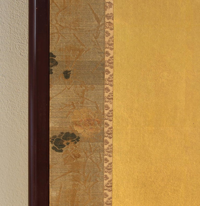 Hand-Painted XX°th Century Japanese Folding Screen Two Panels Gold Leaf For Sale