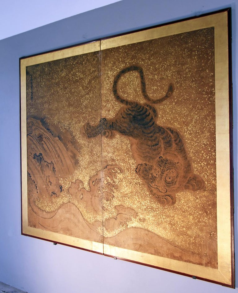Edo 19th Century Japanese Folding Screen Two Panels Tiger For Sale