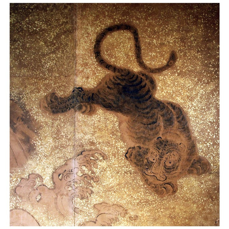19th Century Japanese Folding Screen Two Panels Tiger For Sale
