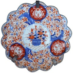 19th Century Japanese Imari Ware Porcelain Hand Painted Plate with Flower Motifs