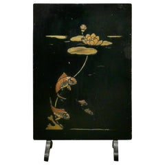 19th Century Japanese Lacquer Fire Screen, Decorated with Carp