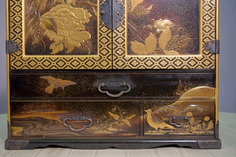 Gilt 19th Century Japanese Lacquer Miniature Cabinet For Sale