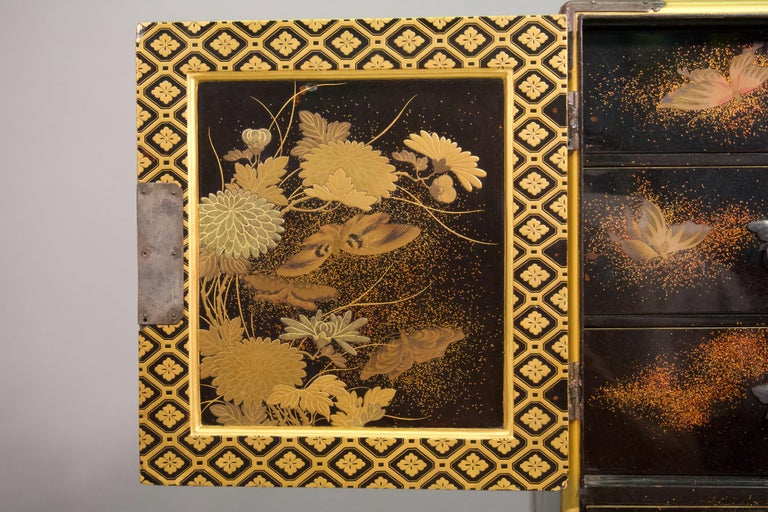 19th Century Japanese Lacquer Miniature Cabinet In Good Condition For Sale In New York, NY