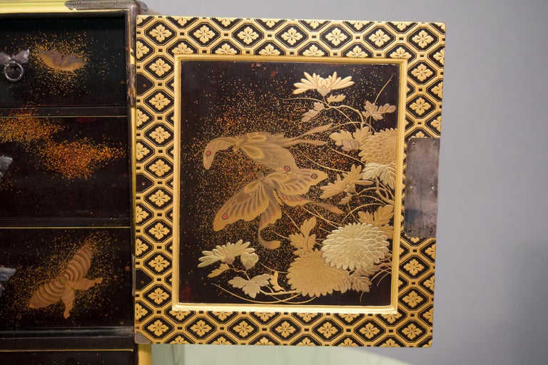 Gold 19th Century Japanese Lacquer Miniature Cabinet For Sale