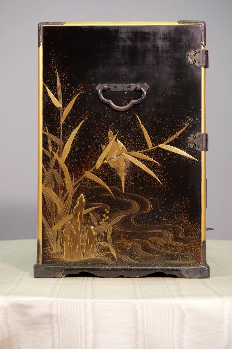 19th Century Japanese Lacquer Miniature Cabinet For Sale 1