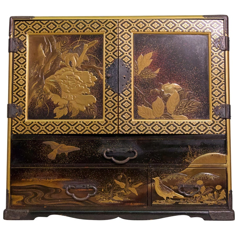 19th Century Japanese Lacquer Miniature Cabinet For Sale