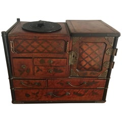 19th Century Japanese Lacquered Smoking Box /Tansu for Opium