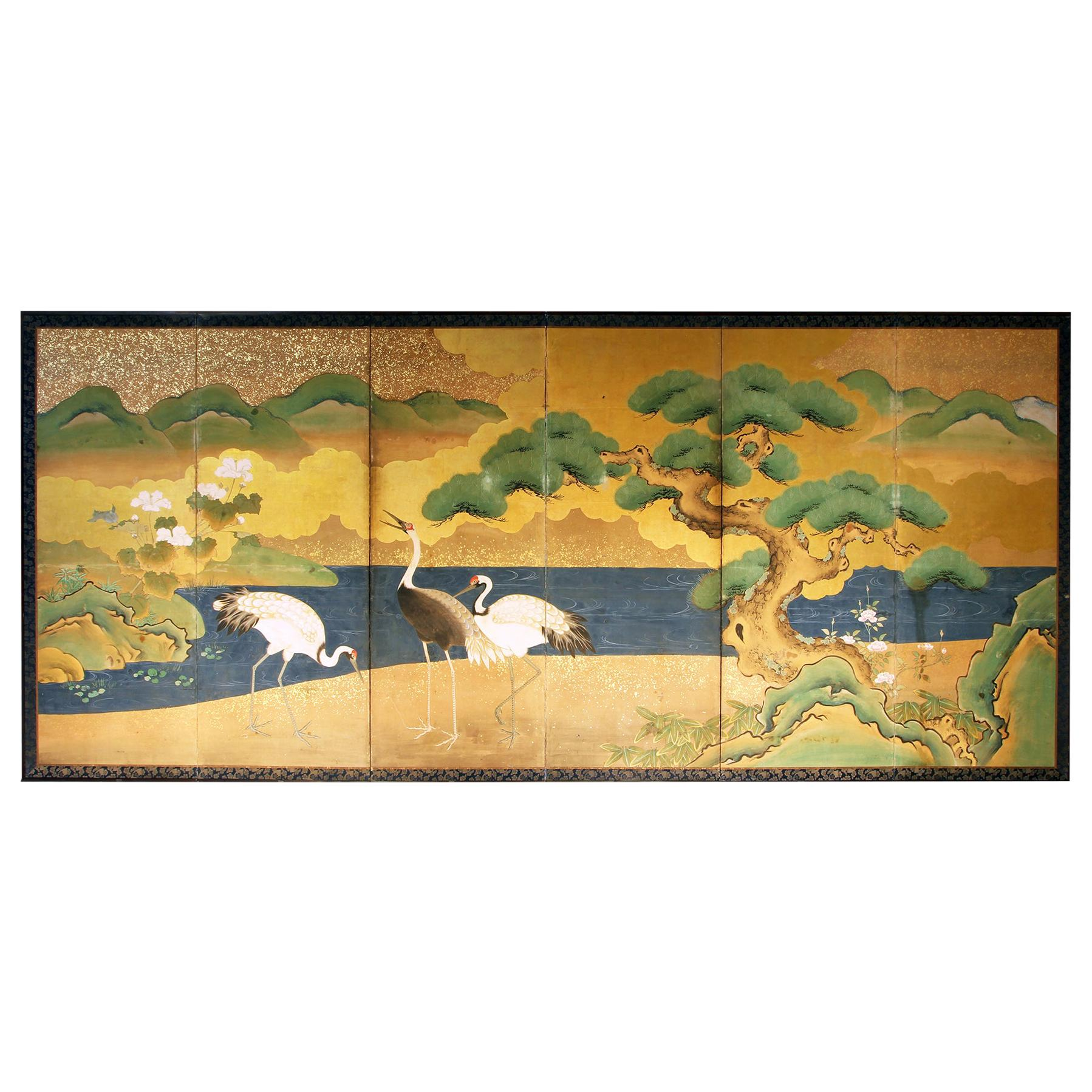 19th Century Japanese Landscape Folding Screen Rice Paper and Gold Leaf