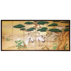 19th Century Japanese Landscape Folding Screen Rice Paper and Gold Specks