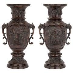 19th Century Japanese Meiji Period Patinated Bronze Urns