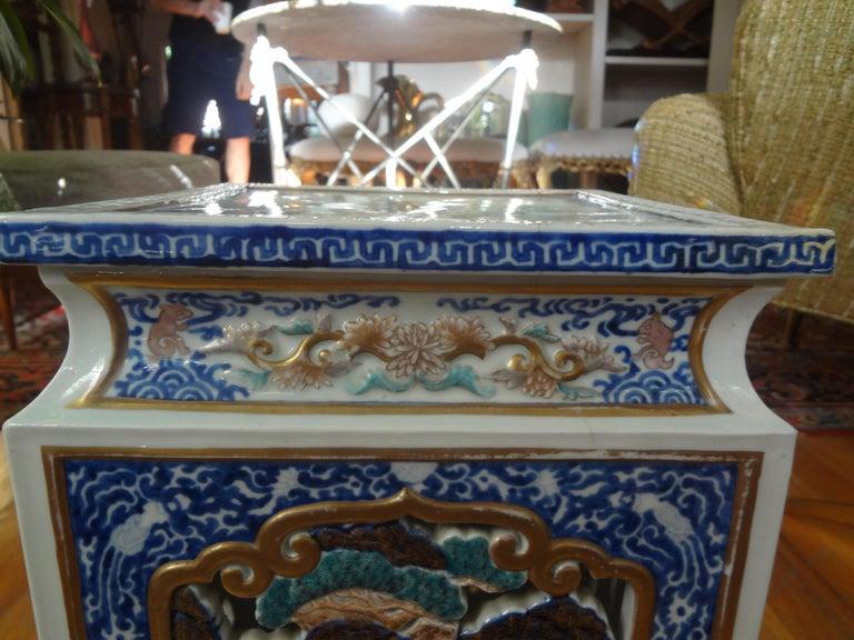 19th Century Japanese Meiji Porcelain Garden Seat or Table For Sale 2