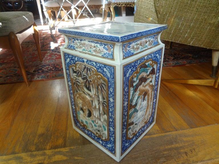 19th Century Japanese Meiji Porcelain Garden Seat or Table For Sale 3