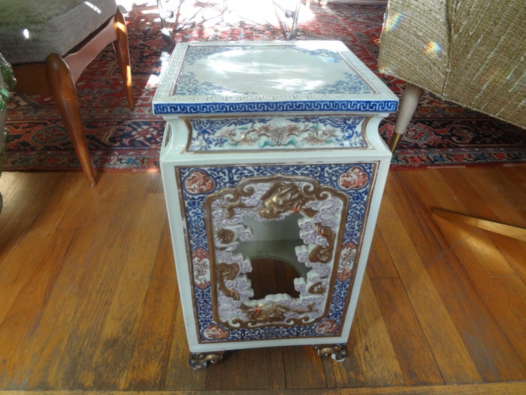 19th Century Japanese Meiji Porcelain Garden Seat or Table For Sale 5