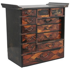 19th Century Japanese Parquetry and Lacquered Cabinet