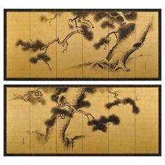 19th Century Japanese Pine Screens, Ink on Gold Leaf, Suzuki Shonen