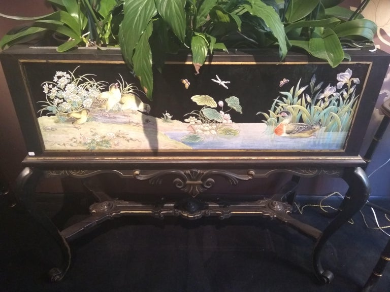 Japonisme 19th Century Japanese Planter in Wood and Lacquer, Eugène Collinot For Sale