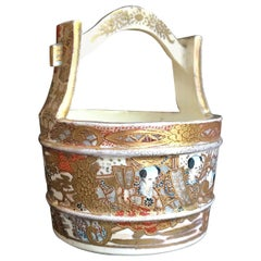 19th Century Japanese Satsuma Porcelain Water Well Bucket, Wishing Well Vase