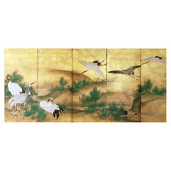 19th Century, Japanese Screen 8 Panels Flying Cranes over the Golden Landscape