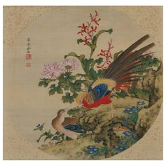 Japanese Scroll Painting, 19th Century Chinese Pheasants by Yoshizawa Setsuan