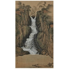 Japanese Scroll Painting, 19th Century Nachi Waterfall by Sugitani Sessho