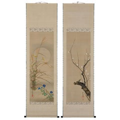 19th Century Japanese Scroll Pair, Plum and Autumn Moon by Sakai Hoitsu
