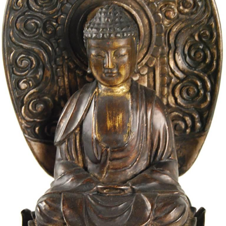 Meiji 19th Century Japanese Seated Figure of Amida on a Lotus Throne with Nimbus For Sale