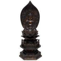 19th Century Japanese Seated Figure of Amida on a Lotus Throne with Nimbus
