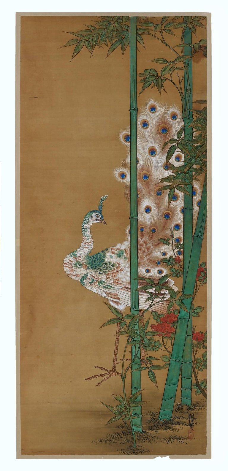 Birds & Flowers of the Seasons  Pheasants & Plum in Snow  Unframed painting. Ink, pigment and gofun on silk  Kano Chikanobu 1819-1888  Signature: Chikanobu  Seal: Shateki  Offered here is an unframed 'kacho-e' painting by the 19th