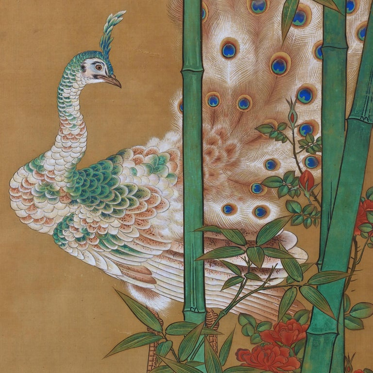 Edo 19th Century Japanese Silk Painting by Kano Chikanobu, Peacock & Bamboo For Sale