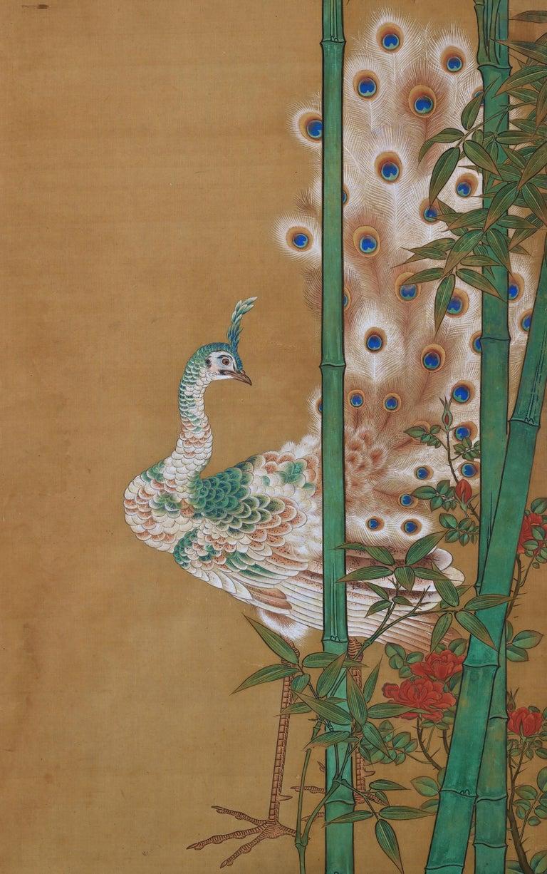 Asian 19th Century Japanese Silk Painting by Kano Chikanobu, Peacock & Bamboo For Sale